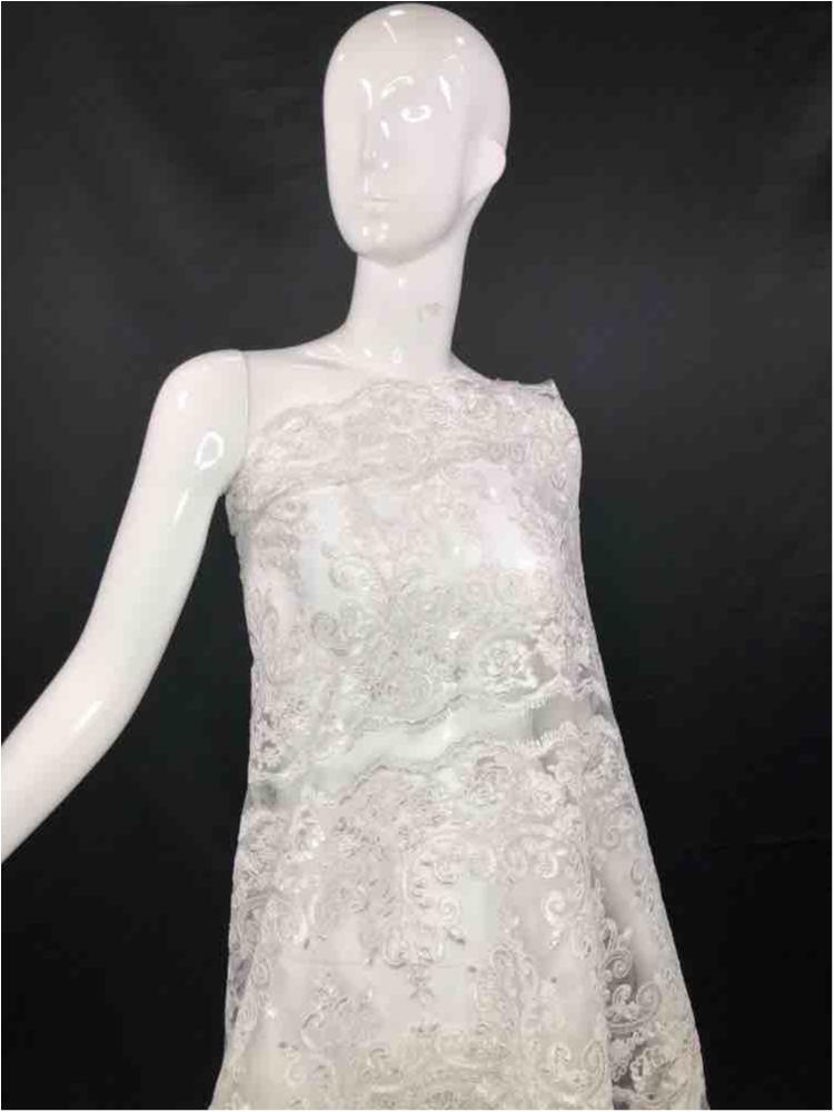 MEMB-051801 / 01.WHITE / MESH WITH CORD EMBROIDERY CUT ABLE