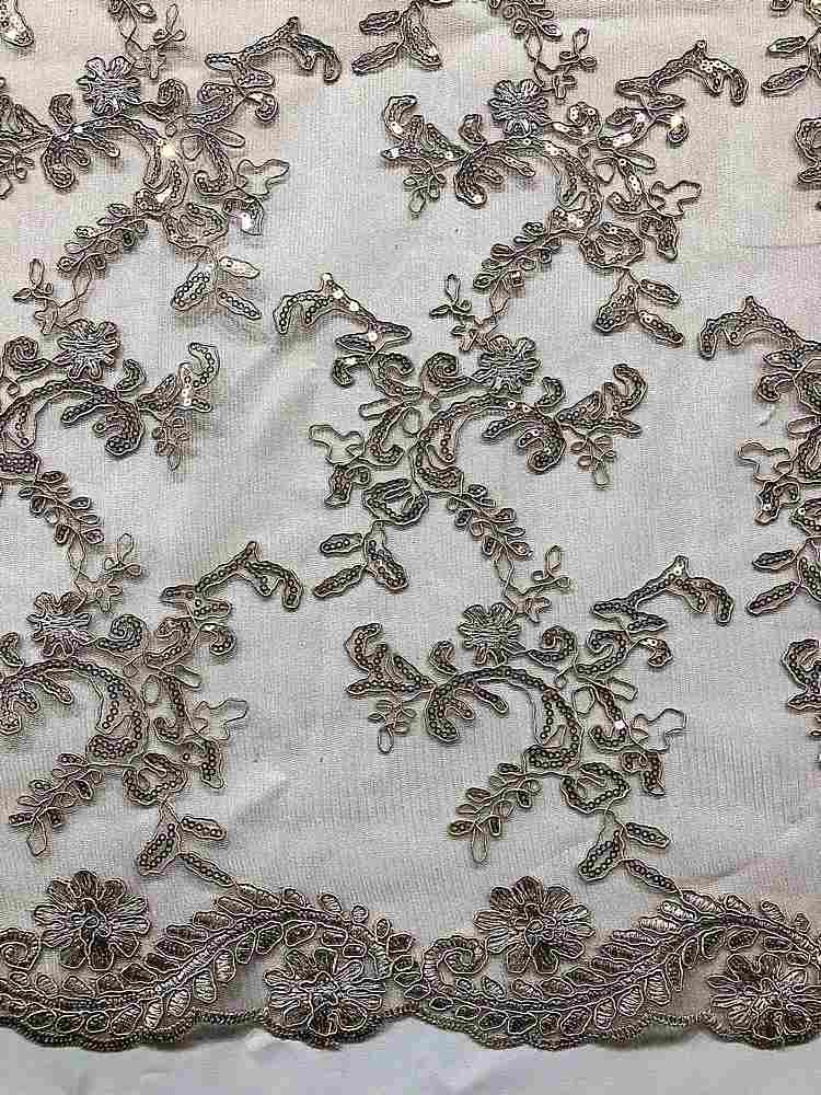 MEMB-25226 / 26-TAUPE         / MESH WITH EMBROIDERY W/SEQUINS