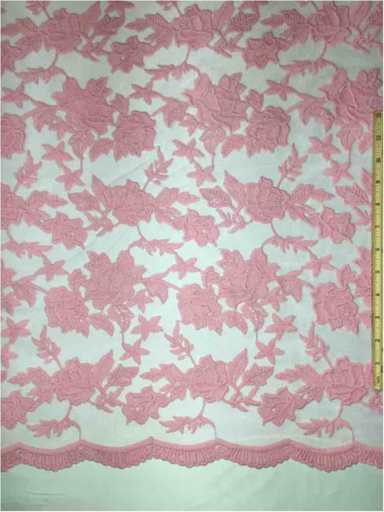 MEMB-0710D#4 / 70-BUBBLEGUM / MESH WITH MILKY YARN EMBROIDERY ALL OVER