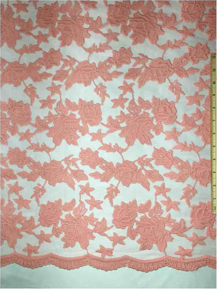 MEMB-0710D#4 / 67-CORAL         / MESH WITH MILKY YARN EMBROIDERY ALL OVER