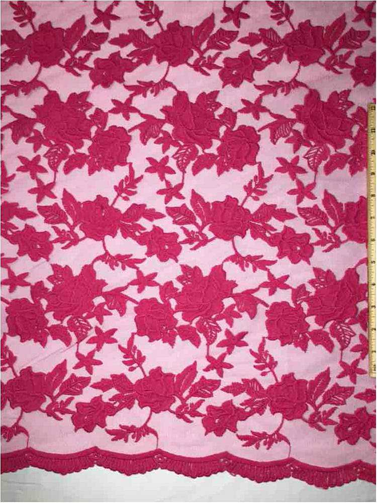 MEMB-0710D#4 / 62-FUSCHIA / MESH WITH MILKY YARN EMBROIDERY ALL OVER