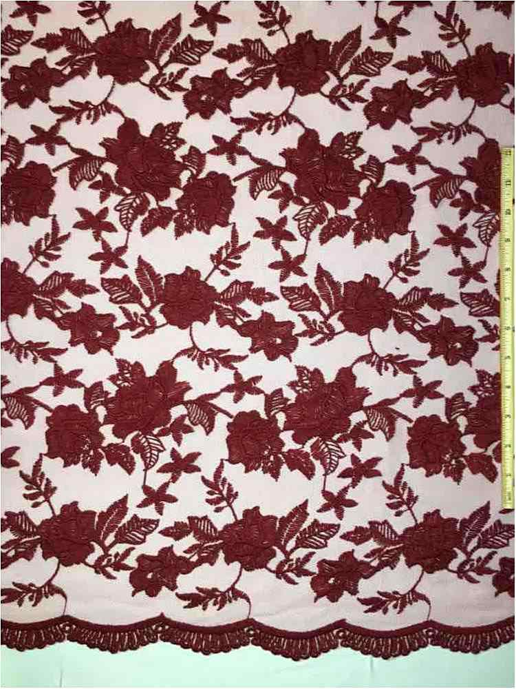 MEMB-0710D#4 / 30-BURGUNDY         / MESH WITH MILKY YARN EMBROIDERY ALL OVER