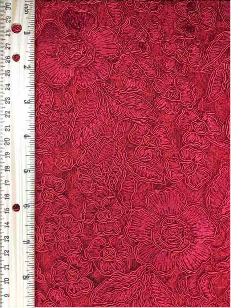 MEMB-102-6A / RED / MESH WITH EMBROIDERY