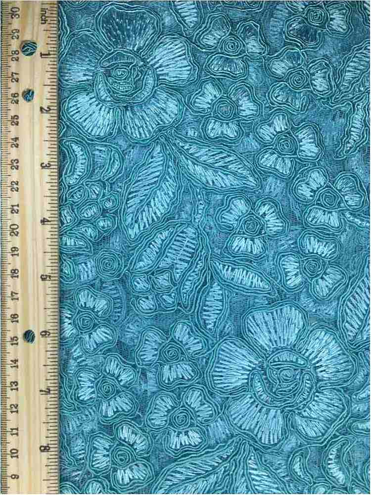 MEMB-102-6A / AQUA         / MESH WITH EMBROIDERY