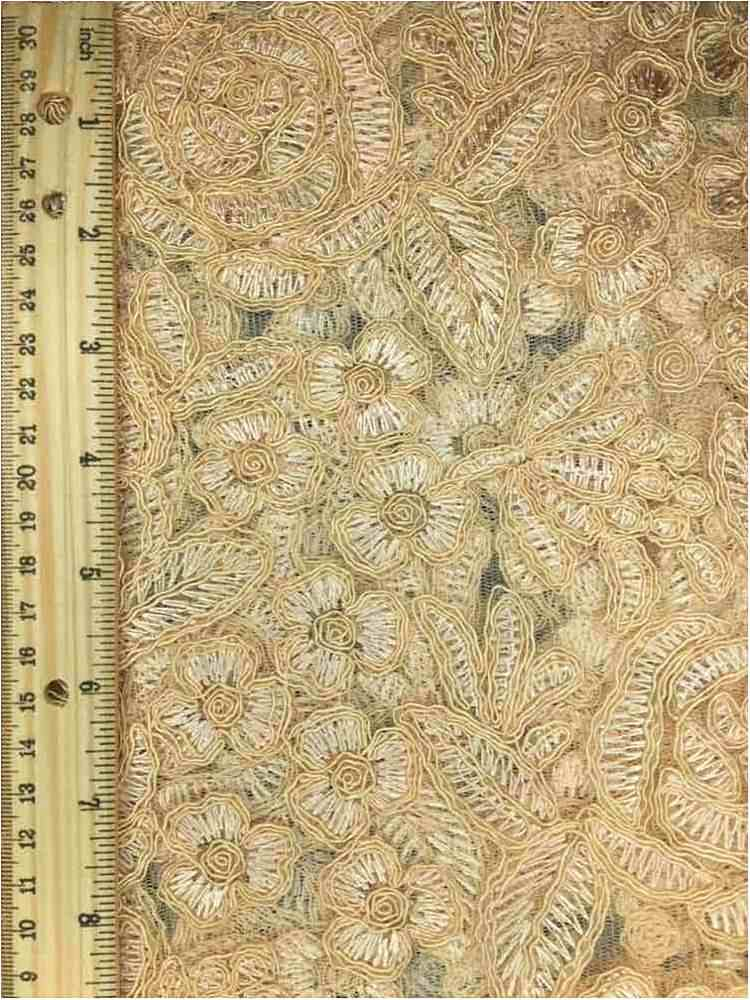 MEMB-102-3A / CHAMPANGE         / MESH WITH EMBROIDERY