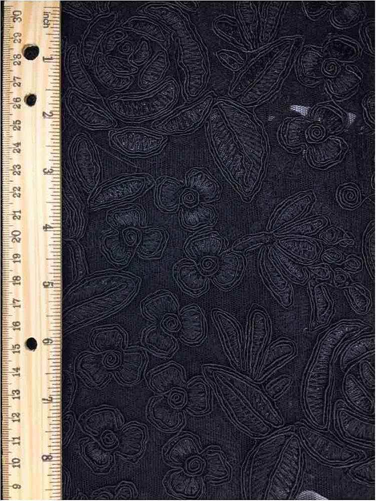 MEMB-102-3A / BLACK         / MESH WITH EMBROIDERY