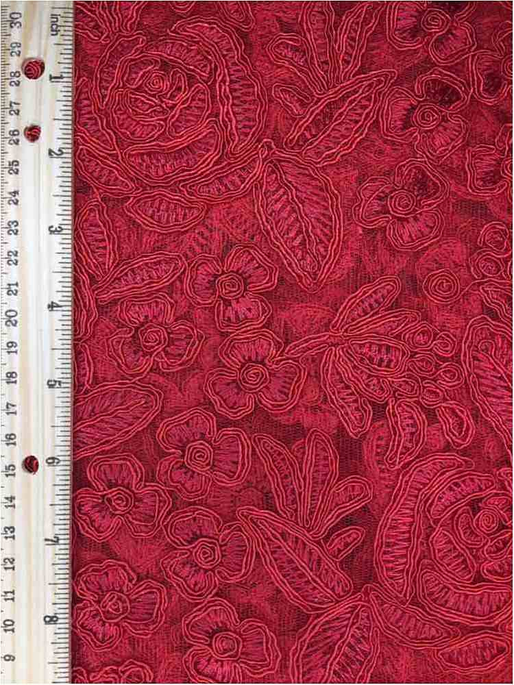 MEMB-102-3A / RED         / MESH WITH EMBROIDERY