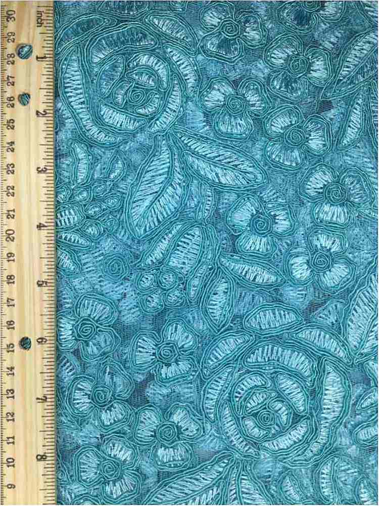 MEMB-102-3A / AQUA         / MESH WITH EMBROIDERY