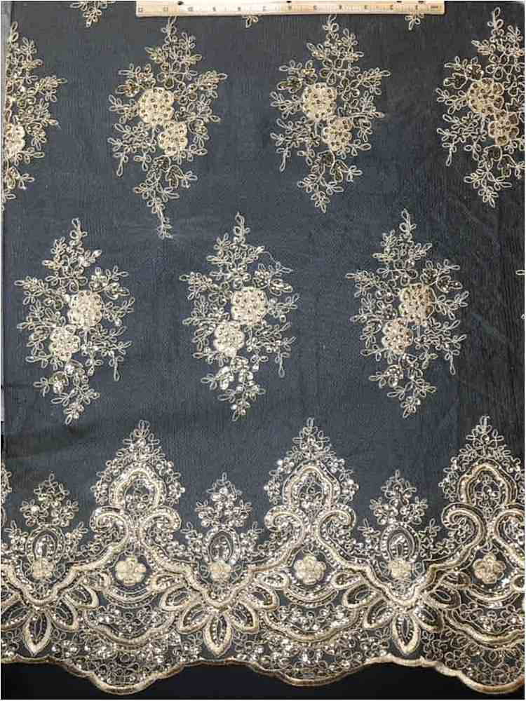 EMB-062801 / 10-TAUPE            / MESH CORD EMBROIDERY WITH SEQUIN.