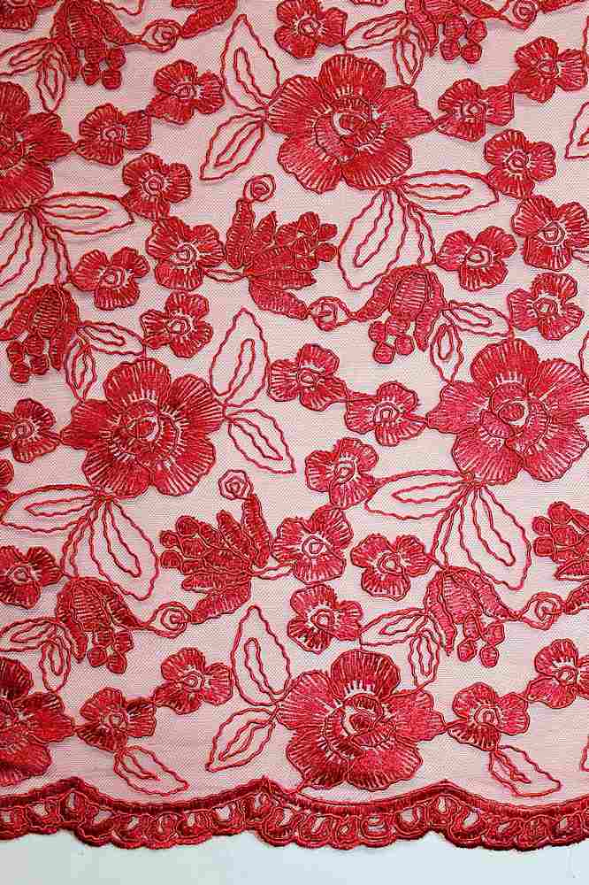 MEMB-062901 / 15-RED         / Mesh With Cord Embroidery All Over