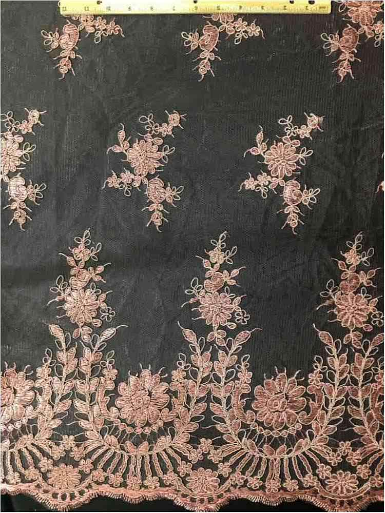 EMB-0803181 / 53-DUSTY ROSE          / MESH WITH EMBROIDERY ALL OVER