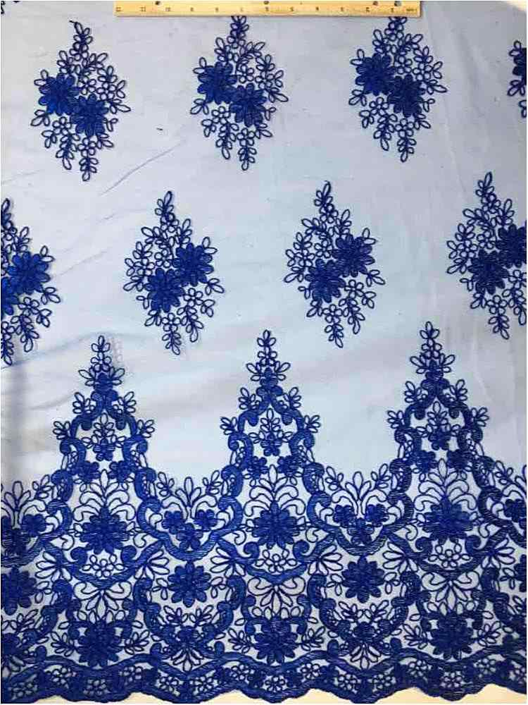 EMB-0803182 / 34-ROYAL         / MESH WITH EMBROIDERY