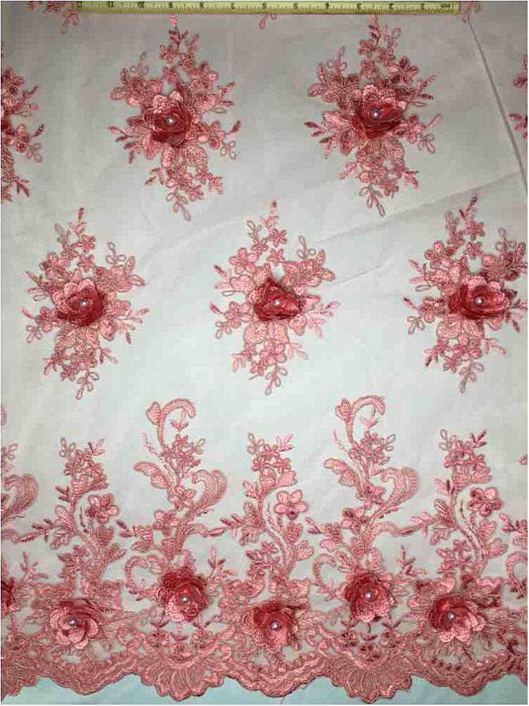 MESH-3D5 / 04-DUSTY ROSE / Mesh With Hand Embroidery And 3d Foral