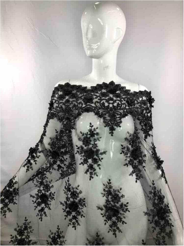 MEMB-2410 / BLACK         / MESH WITH BEADED EMBROIDERY/3D FLOWERS ALL OVER.