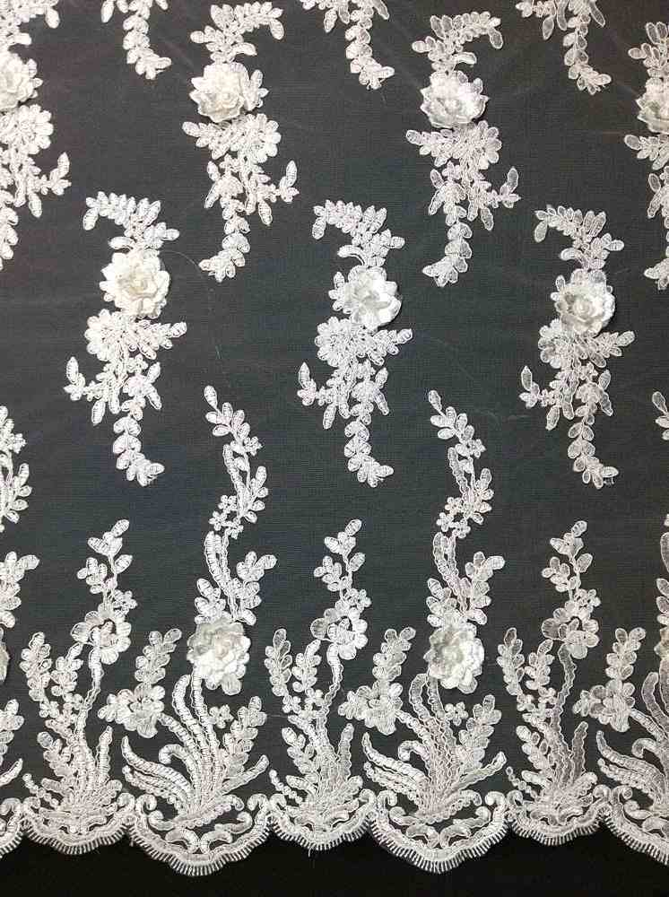 MESH-3D4 / 01-WHITE / Mesh With Hand Embroidery And 3d Foral
