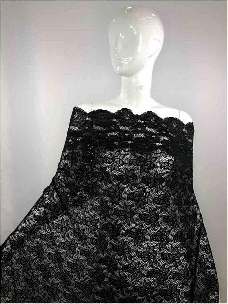 1159-590 / 40-BLACK         / 95%Nylon5%Spandex Lace 5 Kilo/Mt 58/60 With Sequin