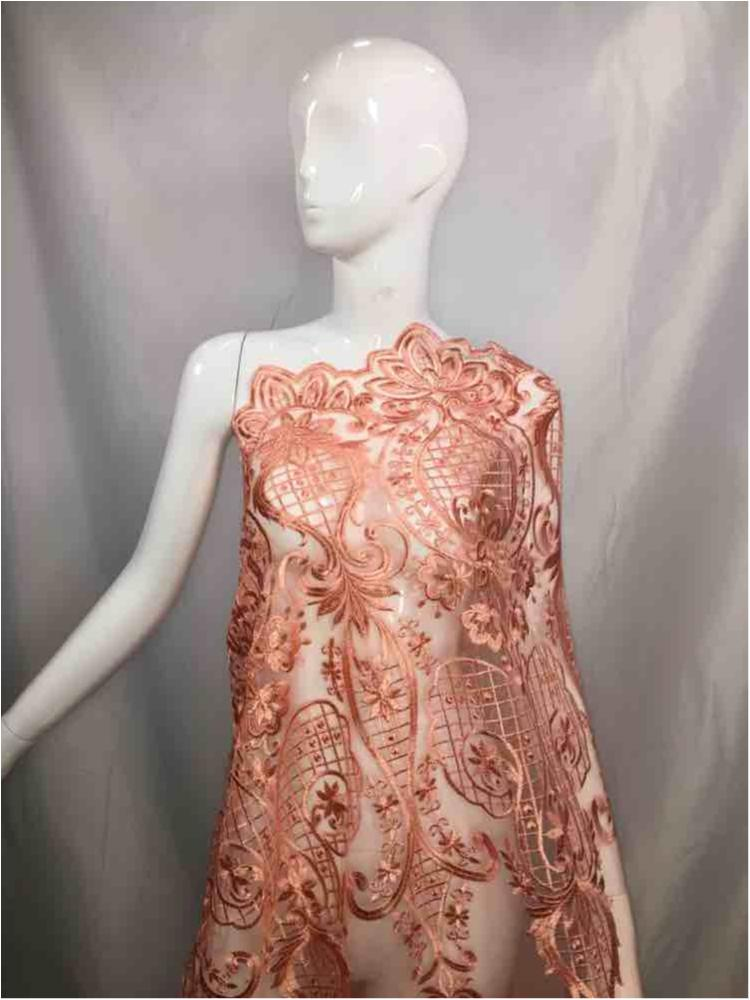 MEMB-5773D1 / 03-PEACH / MESH EMBROIDERY