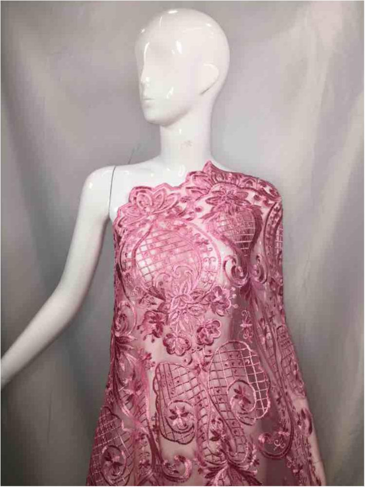 MEMB-5773D1 / 05-PINK         / MESH EMBROIDERY