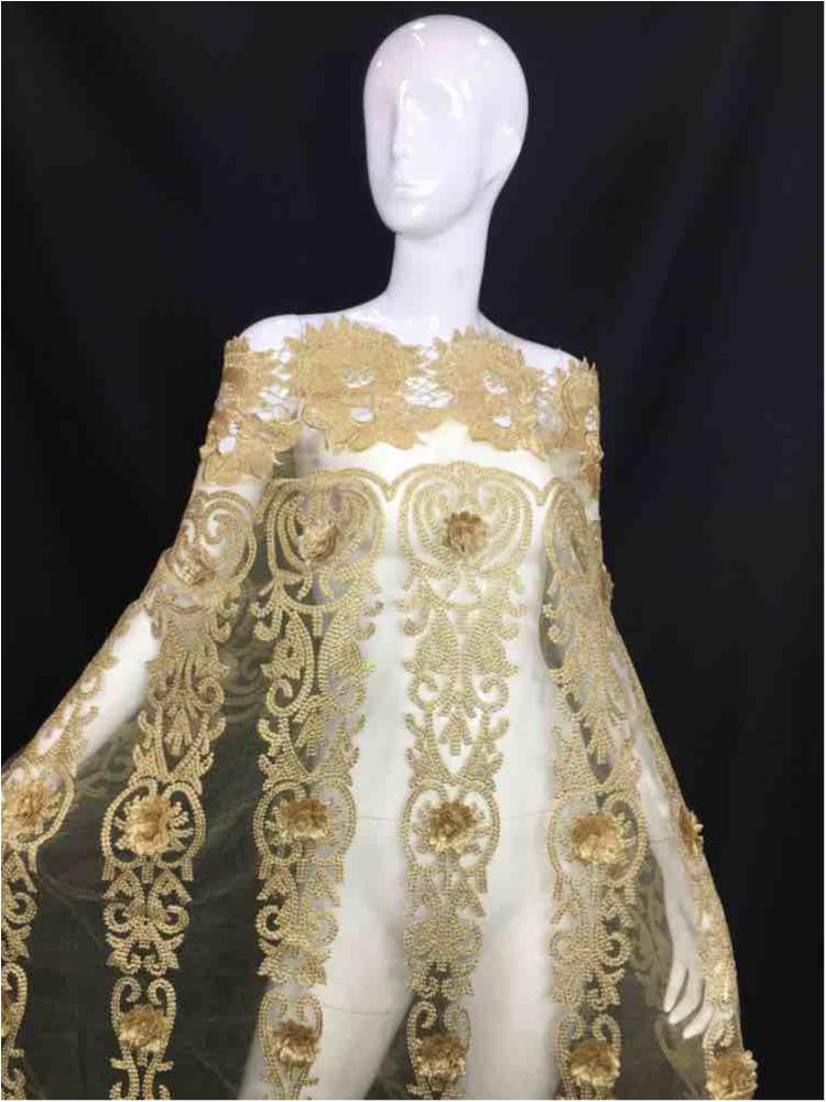 MEMB-5774D1 / 05-GOLD / MESH EMBROIDERY