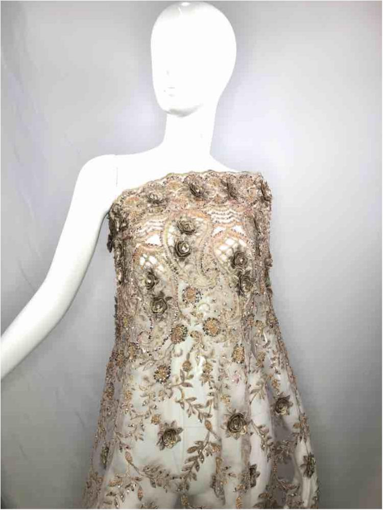 EMB-JH-HP18-904 / 04.TAUPE / Head Bead Embroidery With 3d Floral